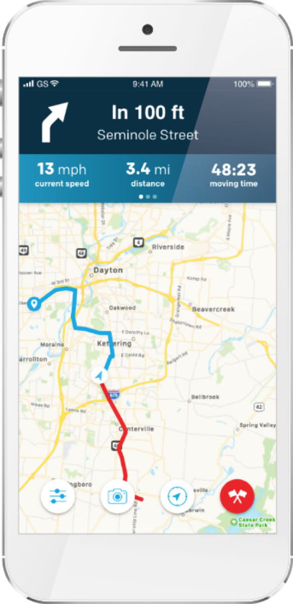 RideSpot Directions on Mobile